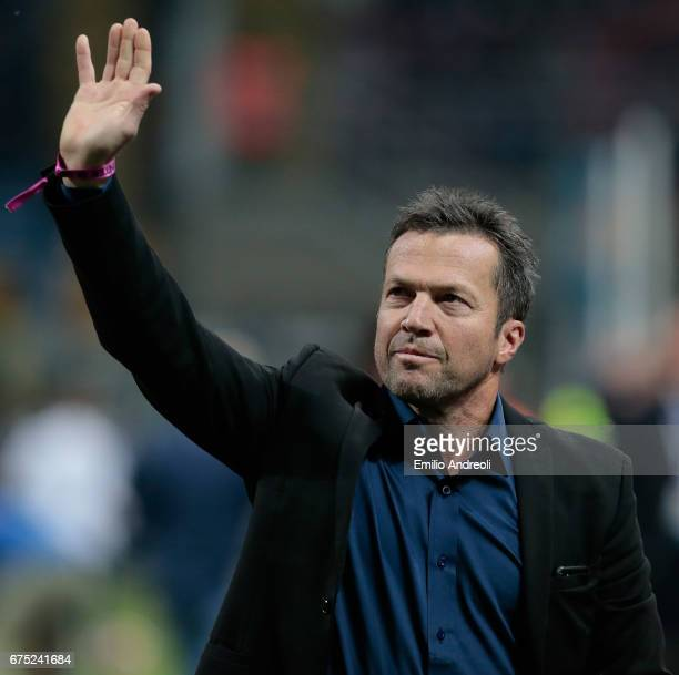 Lothar Herbert Matthaus greets the fans prior to the Serie A match between FC Internazionale and SSC Napoli at Stadio Giuseppe Meazza on April 30...