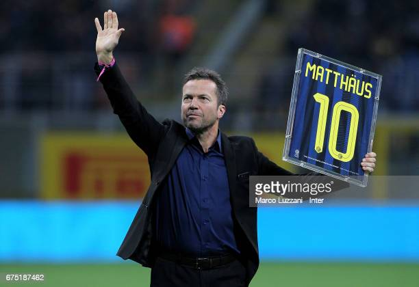 Lothar Herbert Matthaus receives a plaque before the Serie A match between FC Internazionale and SSC Napoli at Stadio Giuseppe Meazza on April 30...