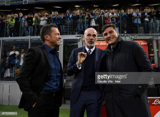 Lothar Herbert Matthaus Stefano Pioli and Javier Zanetti attend the Serie A match between FC Internazionale and SSC Napoli at Stadio Giuseppe Meazza...