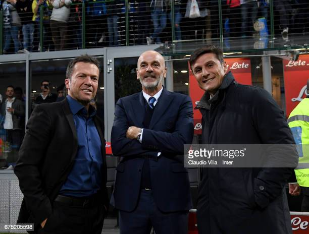 Lothar Herbert Matthaus Stefano Pioli and Javier Zanetti pose for a photo before the Serie A match between FC Internazionale and SSC Napoli at Stadio...