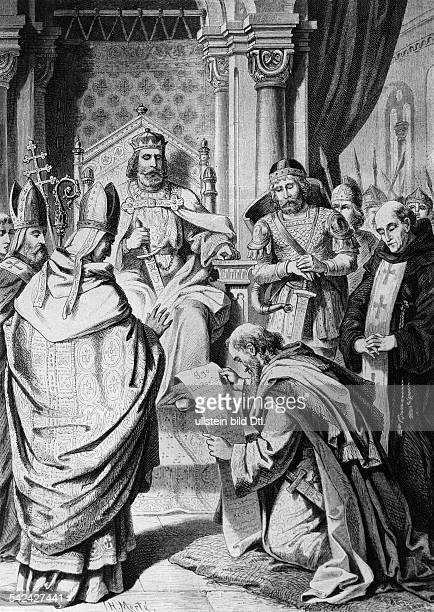 Lothar Ifränkischer König und Kaiser 795 2909855zwingt seinen Vater Ludwig der Fromme in der Medarduskirche zu Soissons knieend Buße zu tun