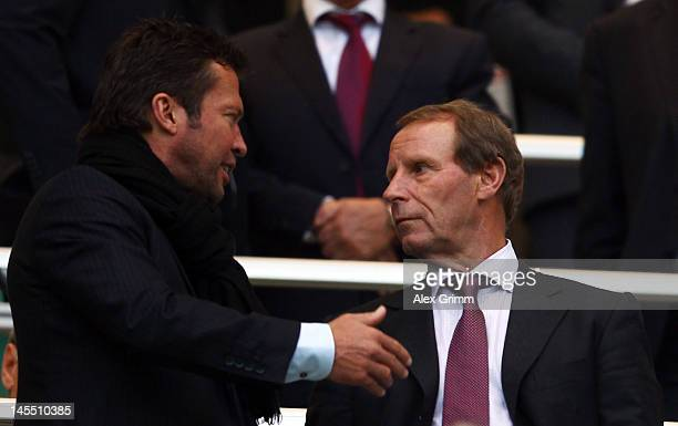 Lothar Mattaeus chats with Berti Vogts prior to the international friendly match between Germany and Israel at Zentralstadion on May 31 2012 in...