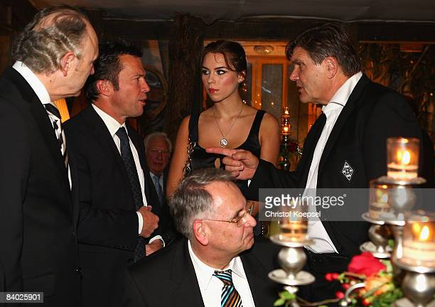 Lothar Matthaeus and head coach Hans Meyer of Monchengladbach attend the dinner at the Laurens Gallery restaurant during the German Soccer Teams...