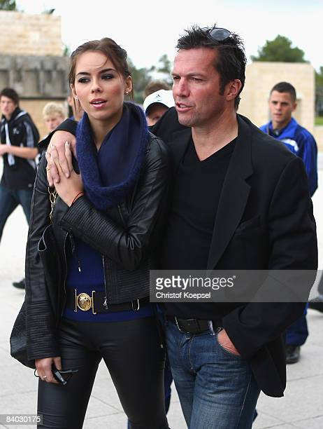 Lothar Matthaeus and his girlfriend Kristina Liliana are seen during the visit of Yad Vashem the holocaust martyrs in Jerusalem during the visit of...