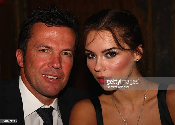 Lothar Matthaeus and his girlfriend Kristina Liliana attend the dinner at the Laurens Gallery restaurant during the German Soccer Teams visit to...