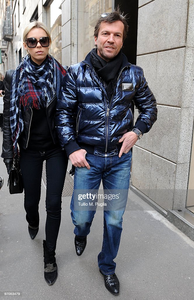 Lothar Matthaeus and Kristina Liliana are seen on February 25 2010 in Milan Italy