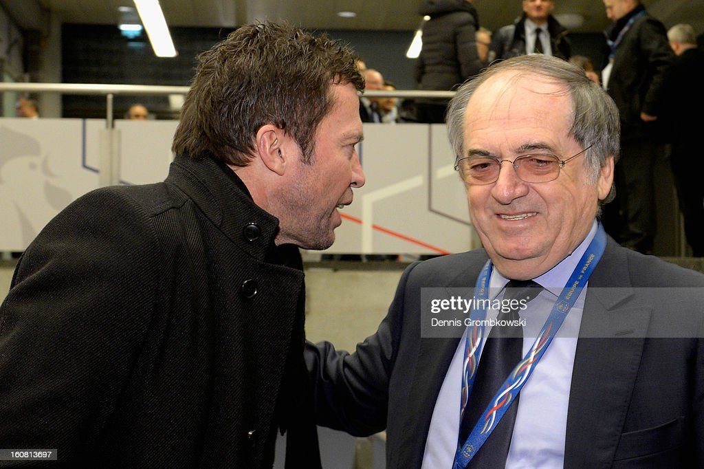 <a gi-track='captionPersonalityLinkClicked' href=/galleries/search?phrase=Lothar+Matthaeus&family=editorial&specificpeople=217345 ng-click='$event.stopPropagation()'>Lothar Matthaeus</a> and <a gi-track='captionPersonalityLinkClicked' href=/galleries/search?phrase=Noel+Le+Graet&family=editorial&specificpeople=616884 ng-click='$event.stopPropagation()'>Noel Le Graet</a> exchange words during a meeting of the 1982 World Cup teams of France and Germany on February 6, 2013 in Paris, France.