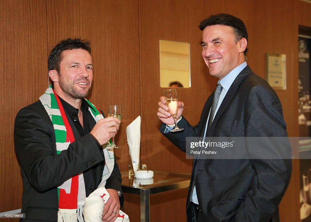 Lothar Matthaeus and President of the Bulgarian Football Union Borislav Mikhailov attend a press conference to present him as new head coach of...