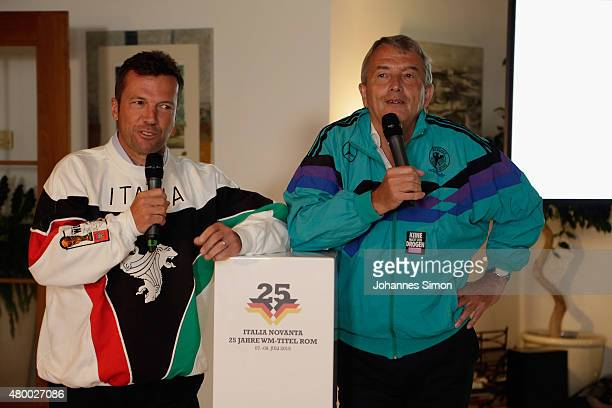 Lothar Matthaeus and Wolfgang Niersbach attend the 2nd evening of the FIFA World Champions of 1990 meeting at Hotel Seeleiten on July 8 2015 in...