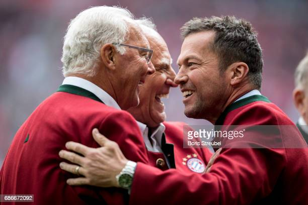 Lothar Matthaeus former player of Bayern Muenchen is pictured with Franz Beckenbauer prior to the Bundesliga match between Bayern Muenchen and SC...