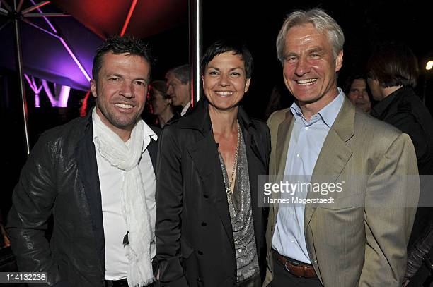 Lothar Matthaeus Nora Goller and Peter Schmuck attend the P1 grand opening of the terrace on May 12 2011 in Munich Germany