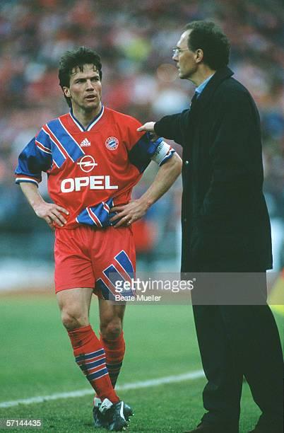 Lothar Matthaeus of Bayern get instructions from his coach Franz Beckenbauer during the Bundesliga match between Bayern Munich and MSV Duisburg at...