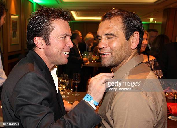 Lothar Matthaeus of the World Champion 1990 and Ulf Kirsten of the DFV Legend have a chat during the Players Night at the Westin Hotel on November 20...