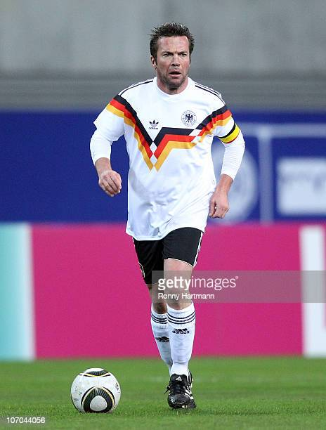 Lothar Matthaeus of the World Champion 1990 controls the ball during the Reunification match between the World Champion 1990 and the DFV Legend at...