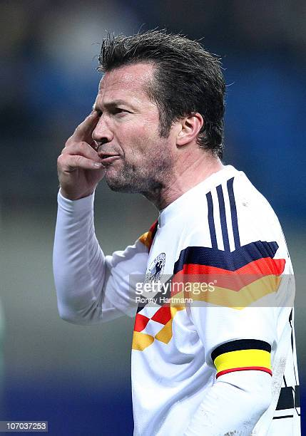 Lothar Matthaeus of the World Champion 1990 gestures during the Reunification match between the World Champion 1990 and the DFV Legend at the Red...