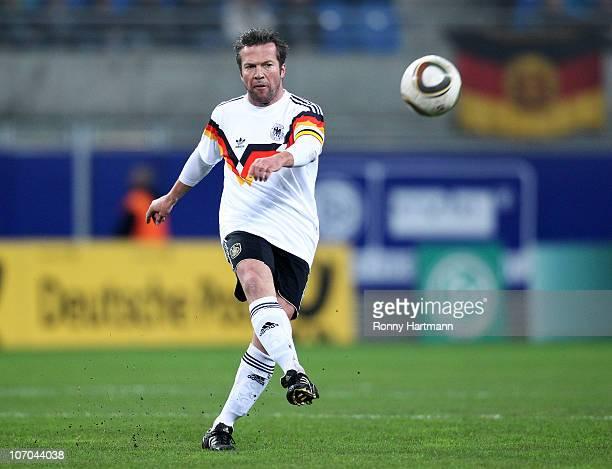 Lothar Matthaeus of the World Champion 1990 kicks the ball during the Reunification match between the World Champion 1990 and the DFV Legend at the...