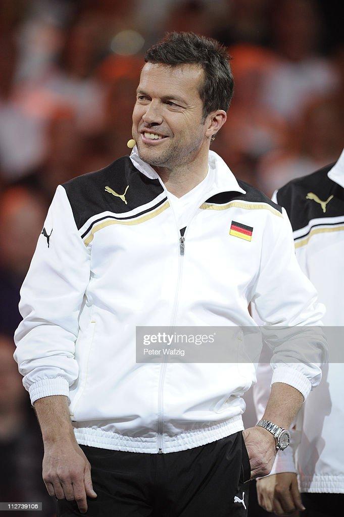 Lothar Matthaeus smiles during the 'Deutschland Gegen Italien' TV Show on April 20 2011 in Duesseldorf Germany