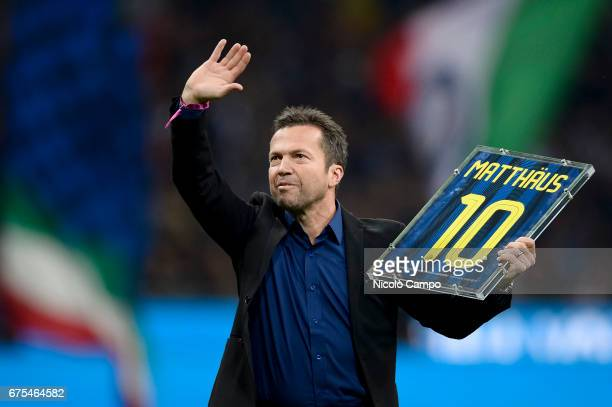 Lothar Matthaus former player of FC Internazionale greets the supporters prior to the Serie A football match between FC Internazionale and SSC Napoli...