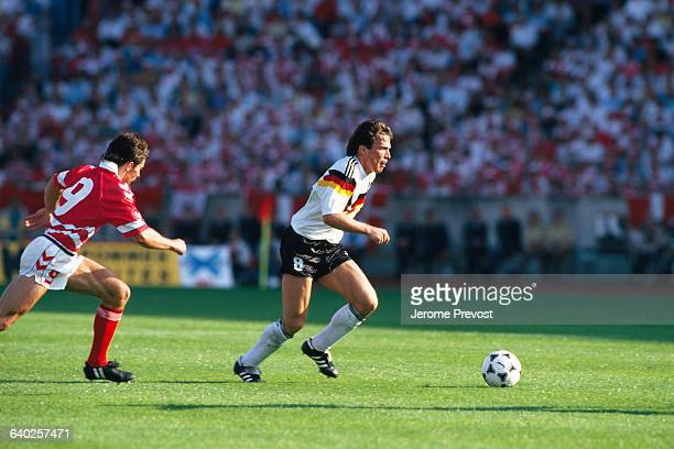 Lothar Matthaus from Germany during the first round soccer match against Denmark of the UEFA Euro 1988