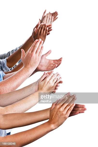 Beaucoup de gratitude: Nombreuses mains applaudir sur blanc