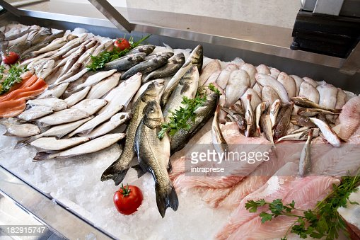 Lots of freshly caught fish displayed at the wet market