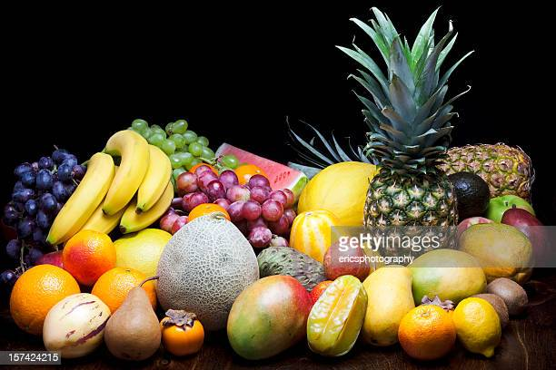 Lots of fruits on black background