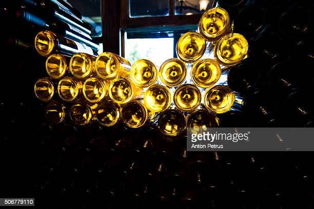 Lots of wine bottles in a wine-cellar