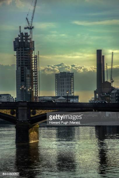 Lots Road Power Station, Battersea Bridge and Chelsea Waterfront Regeneration. Sunset