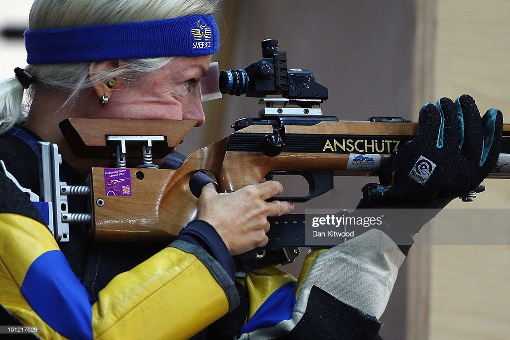 Lotta Helsinger of Sweden competes in the mixed R6-50m Rifle Prone- SH1 qualification round on day 6 of the London 2012 Paralympic Games at The Royal Artillery Barracks on September 4, 2012 in London, England.
