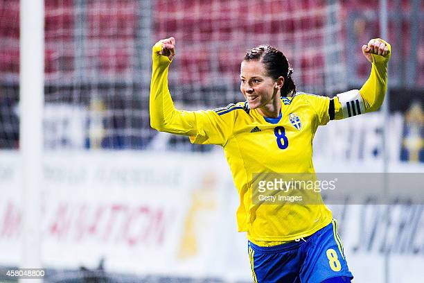 Lotta Schelin celebrates after her 200 goal in the swedish national team during the Women's international friendly between Sweden and Germany at...