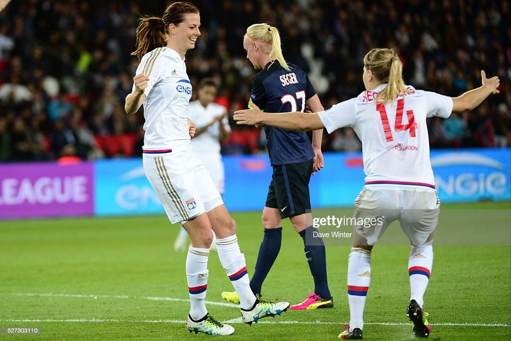 Lotta Schelin of Lyon celebrates opening the scoring during the Uefa Women's Champions League match, semi-final, second leg, between Paris Saint Germain and Olympique Lyonnais at Parc des Princes on May 2, 2016 in Paris, France.