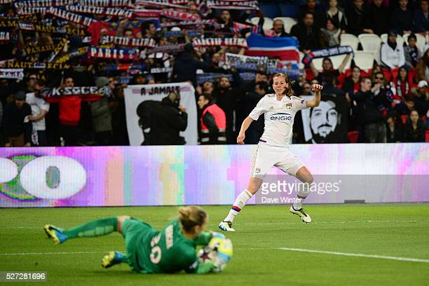 Lotta Schelin of Lyon sees her shot saved by Ann Katrin Berger of PSG during the Uefa Women's Champions League match semifinal second leg between...