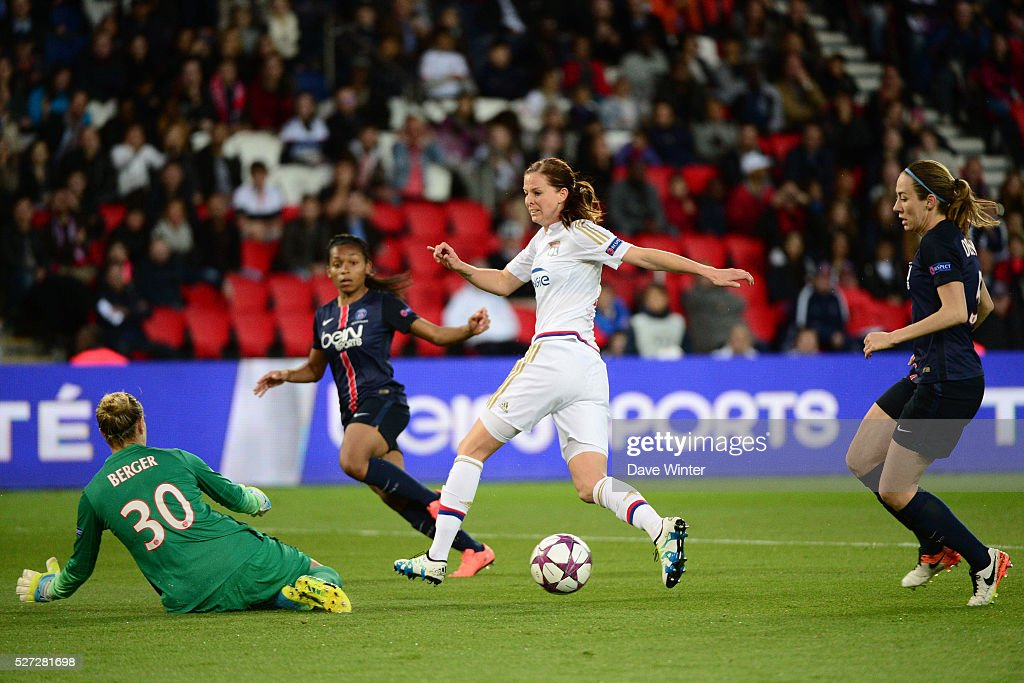 Lotta Schelin of Lyon sees her shot saved by Ann Katrin Berger of PSG during the Uefa Women's Champions League match, semi-final, second leg, between Paris Saint Germain and Olympique Lyonnais at Parc des Princes on May 2, 2016 in Paris, France.