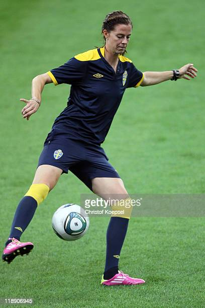 Lotta Schelin of Sweden attends the Sweden Women's national team raining session at FIFA World Cup Stadium Frankfurt on July 12 2011 in Frankfurt am...
