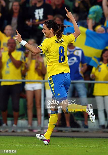 Lotta Schelin of Sweden celebrates after scoring her team's 2nd goal during the UEFA Women's Euro 2013 group A match between Sweden and Italy at...