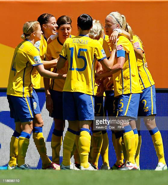 Lotta Schelin of Sweden celebrates her goal against Australia with her teammates during the FIFA Women's World Cup 2011 Quarter Final match between...
