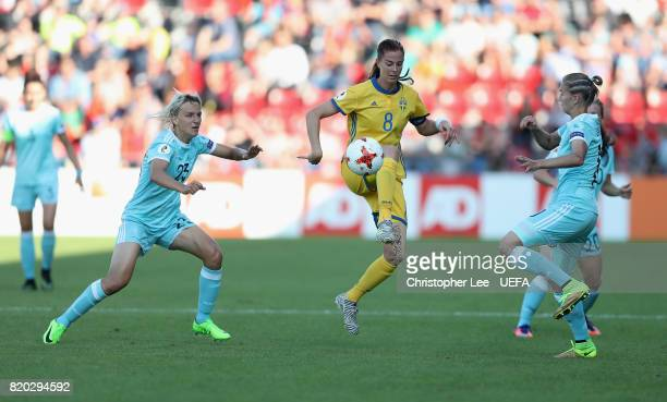 Lotta Schelin of Sweden controls the ball while under pressure from the Russia defence during the UEFA Women's Euro 2017 Group B match between Sweden...