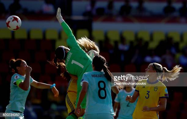 Lotta Schelin of Sweden heads the opening goal during the Group B match between Sweden and Russia during the UEFA Women's Euro 2017 at Stadion De...