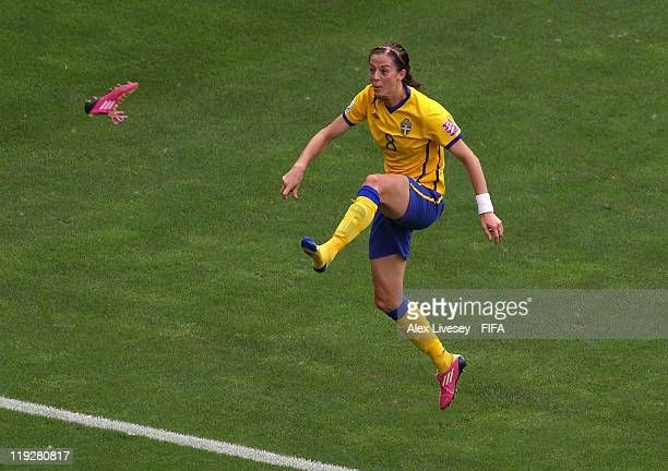 Lotta Schelin of Sweden kicks her boot off as she celebrates after scoring the opening goal during the FIFA Women's World Cup 3rd Place Playoff...