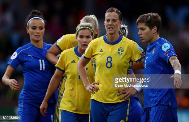 Lotta Schelin of Sweden looks on during the UEFA Women's Euro 2017 Group B match between Sweden and Italy at Stadion De Vijverberg on July 25 2017 in...