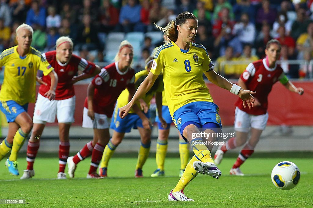 <a gi-track='captionPersonalityLinkClicked' href=/galleries/search?phrase=Lotta+Schelin&family=editorial&specificpeople=742197 ng-click='$event.stopPropagation()'>Lotta Schelin</a> of Sweden misses a penalty during the UEFA Women's EURO 2013 Group A match between Sweden and Denmark at Gamla Ullevi Stadium on July 10, 2013 in Gothenburg, Sweden.
