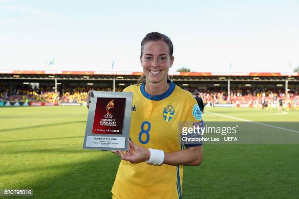Lotta Schelin of Sweden poses for the camera with her Player of the Match award during the UEFA Women's Euro 2017 Group B match between Sweden and...