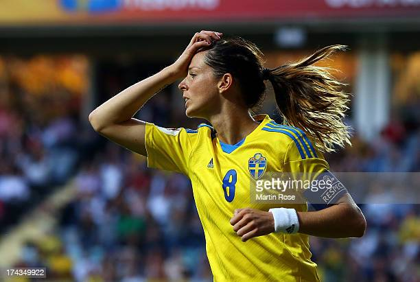 Lotta Schelin of Sweden reacts during the UEFA Women's Euro 2013 semi final match between Sweden and Germany at Gamla Ullevi on July 24 2013 in...