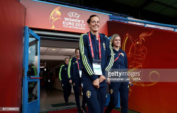 Lotta Schelin of Sweden walk out to inspect the pitch ahead of the UEFA Women's Euro 2017 Group B match between Sweden and Italy at Stadion De...