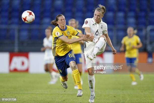 Lotta Schelin of Sweden women Kristin Demann of Germany women during the UEFA WEURO 2017 Group B group stage match between Germany and Sweden at the...