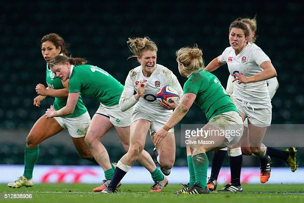 Lotte Clapp of England in action during the Womens Six Nations match between England Women and Ireland Women at Twickenham Stadium on February 27...