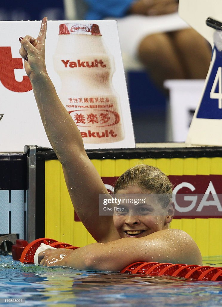 <a gi-track='captionPersonalityLinkClicked' href=/galleries/search?phrase=Lotte+Friis&family=editorial&specificpeople=3035975 ng-click='$event.stopPropagation()'>Lotte Friis</a> of Denmark celebrates winning the gold medal in the Women's 1500m Freestyle Final during Day Eleven of the 14th FINA World Championships at the Oriental Sports Center on July 26, 2011 in Shanghai, China.