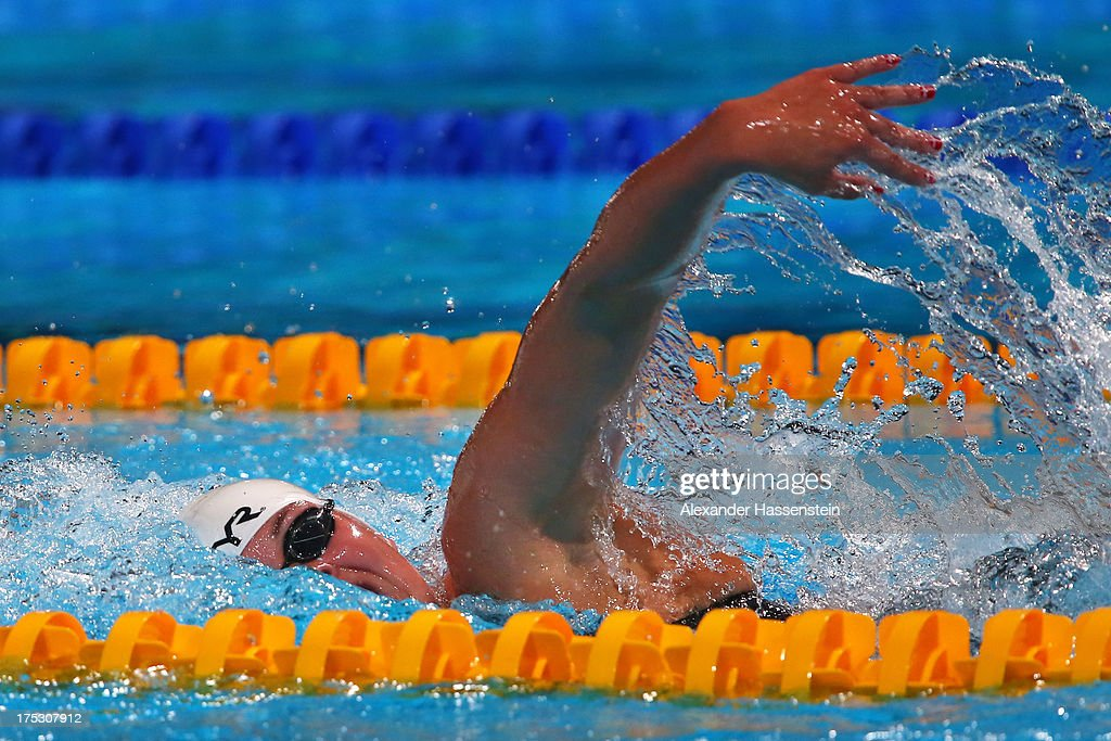 Lotte Friis of Denmark competes during the Swimming Women's 800m Freestyle preliminaries heat four on day fourteen of the 15th FINA World...