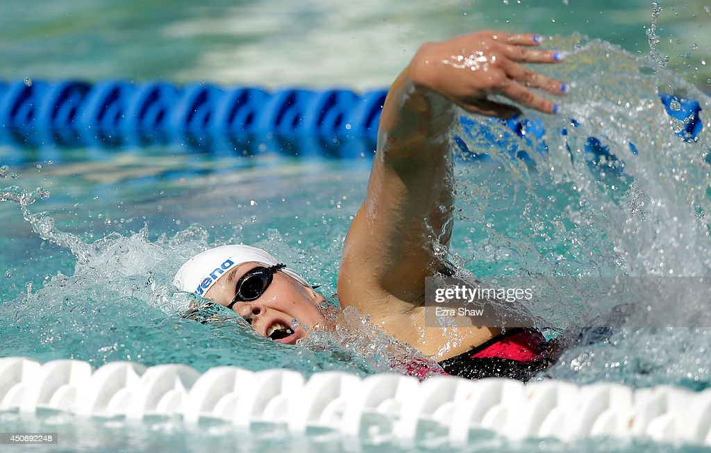 Lotte Friis of Denmark competes in heat 1 of the women's 1500 freestyle during the 2014 Arena Grand Prix of Santa Clara at the George F Haines...