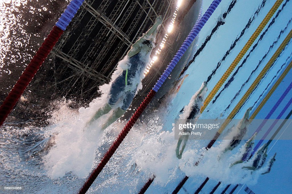 Lotte Friis of Denmark competes in the Women's 800m Freestyle Final on Day 7 of the Rio 2016 Olympic Games at the Olympic Aquatics Stadium on August...